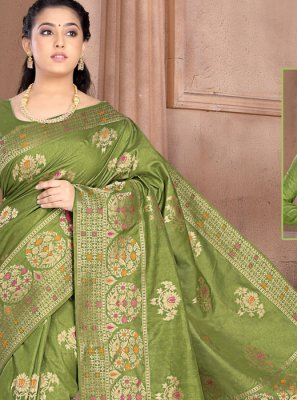 Silk Weaving Designer Saree in Green