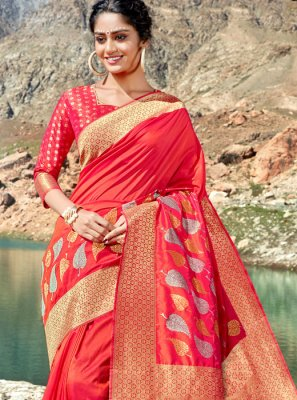 Silk Weaving Designer Saree in Red