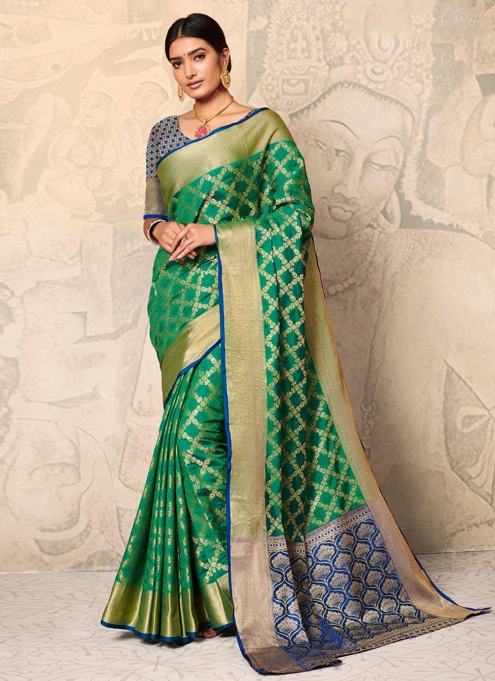 Silk Weaving Green Classic Saree