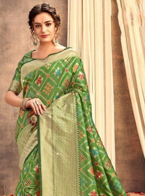 Silk Weaving Green Traditional Designer Saree