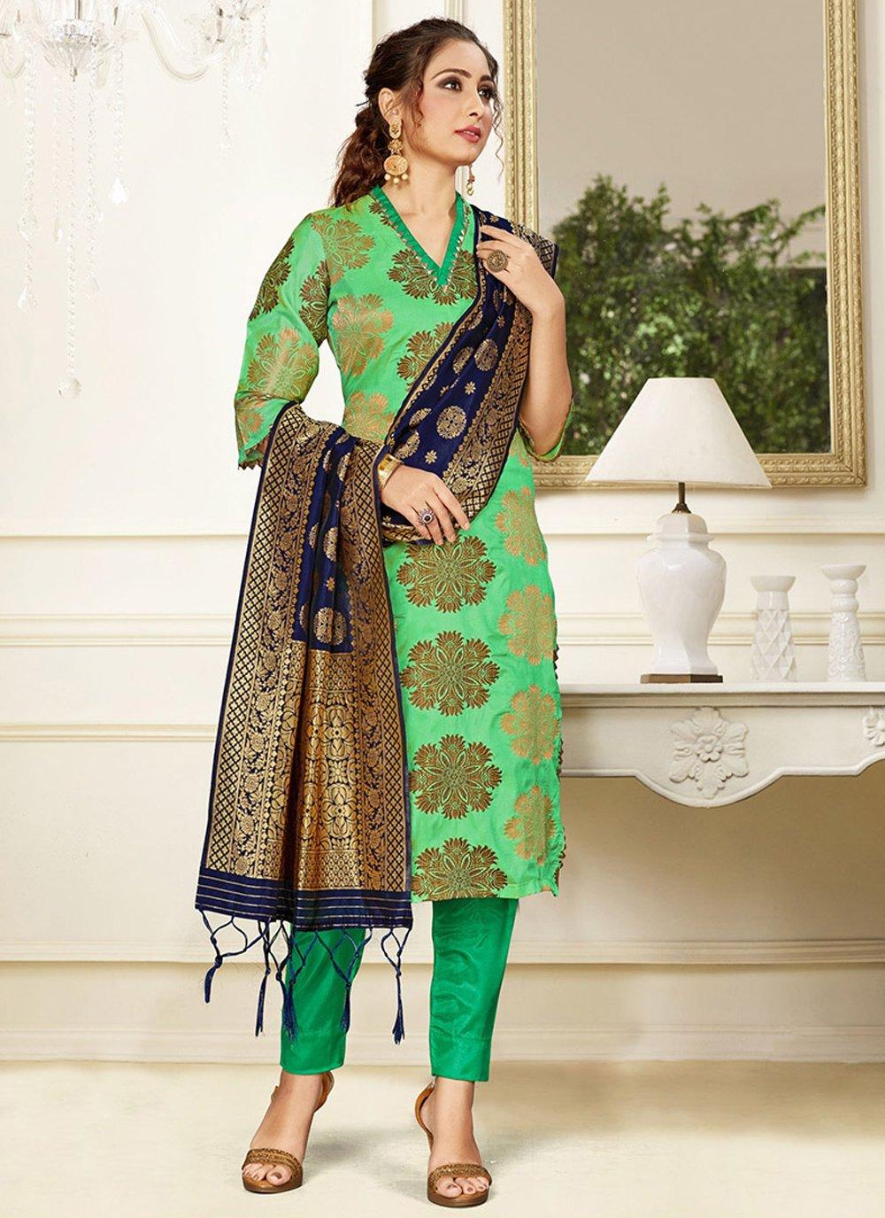 Silk Weaving Green Trendy Salwar Kameez