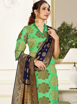 Silk Weaving Green Trendy Salwar Kameez