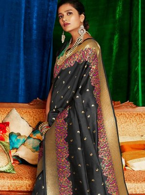 Silk Weaving Grey Classic Saree