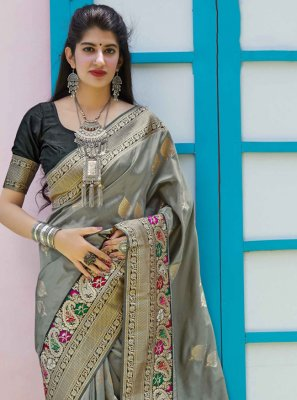 Silk Weaving Grey Contemporary Saree