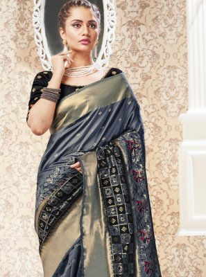 Silk Weaving Grey Traditional Saree