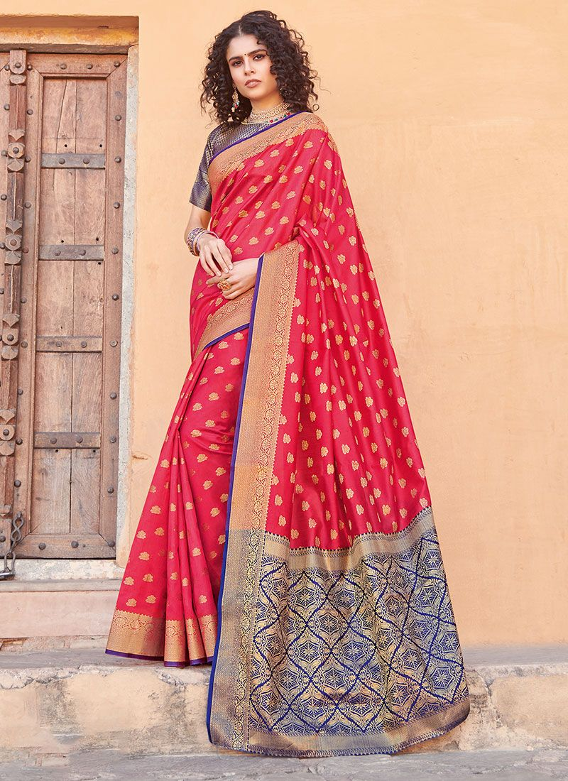 Silk Weaving Hot Pink Silk Saree