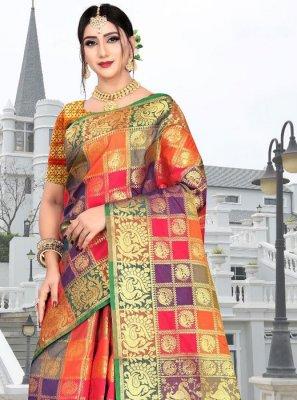 Silk Weaving Multi Colour Silk Saree