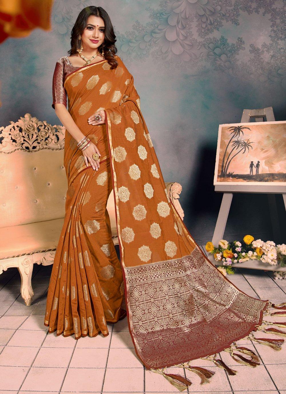Silk Weaving Mustard Traditional Saree