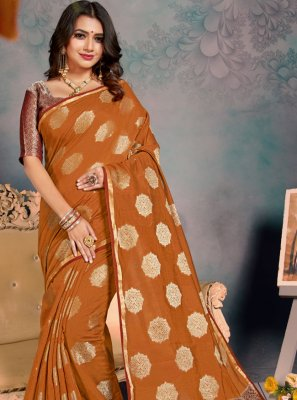 Silk Weaving Mustard Traditional Saree