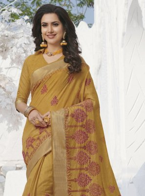 Silk Weaving Mustard Trendy Saree