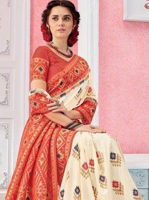 Silk Weaving Off White Classic Saree