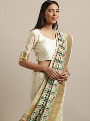 Silk Weaving Off White Designer Saree