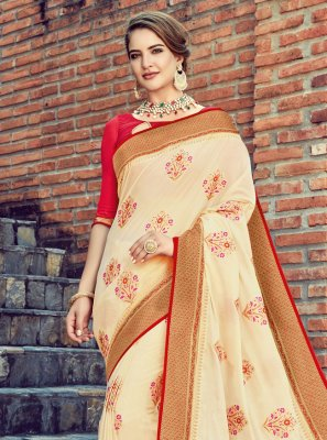 Silk Weaving Off White Traditional Saree