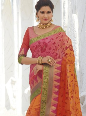 Silk Weaving Orange Classic Saree