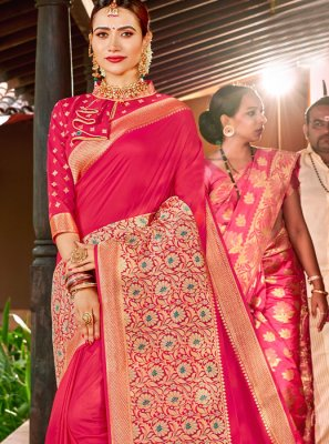Silk Weaving Pink Classic Designer Saree