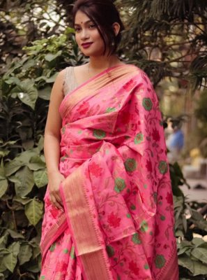 Silk Weaving Pink Classic Saree