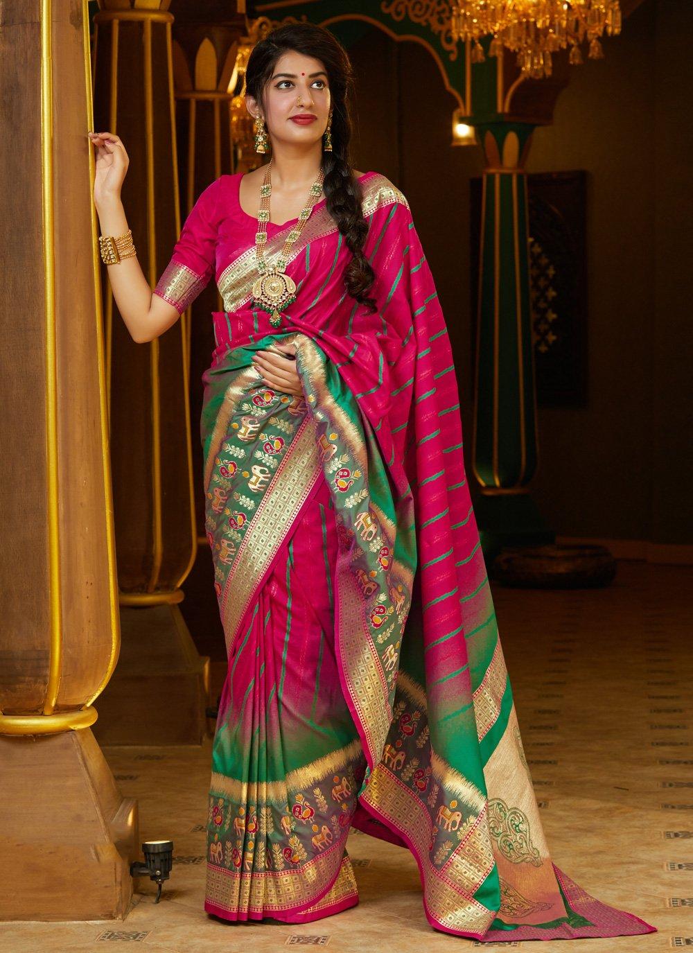 Silk Weaving Pink Designer Bollywood Saree