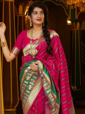 Silk Weaving Pink Designer Bollywood Saree
