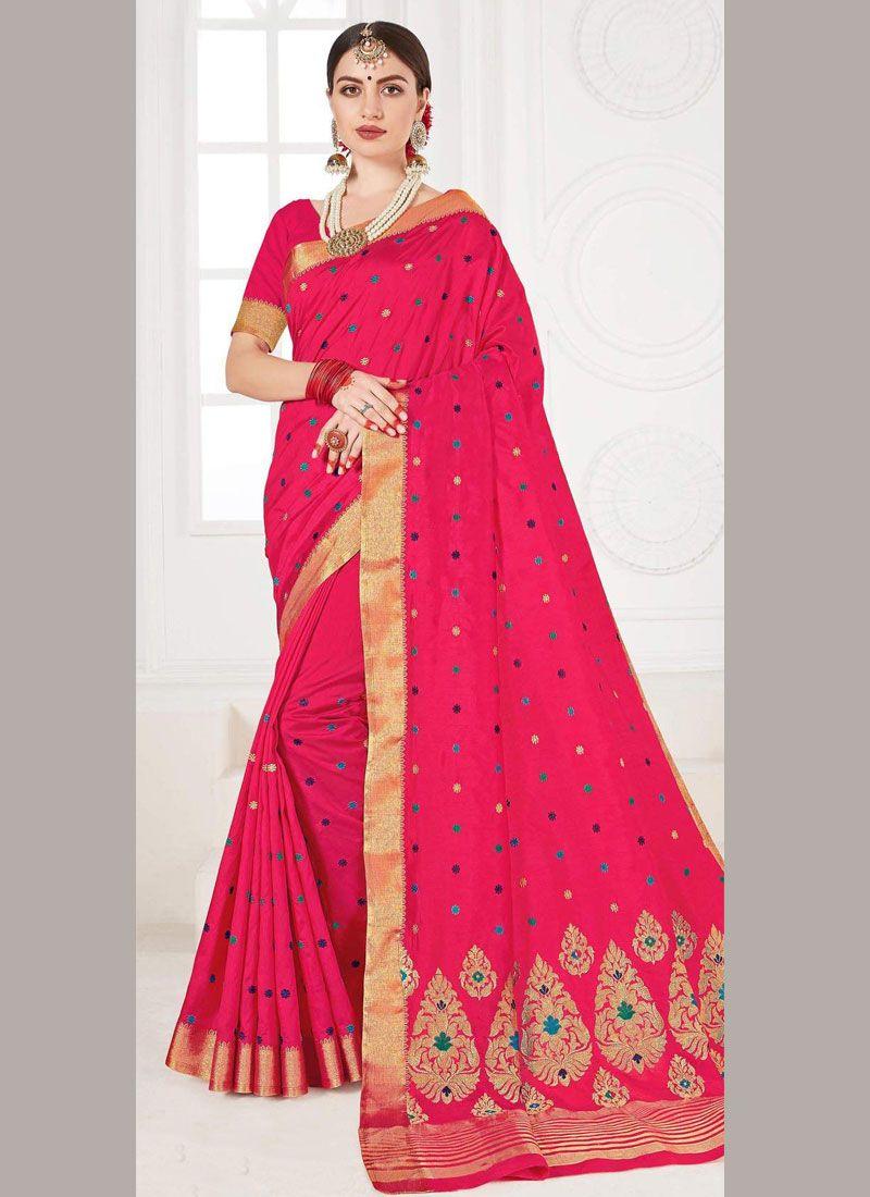 Silk Weaving Pink Traditional Saree