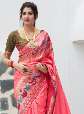 Silk Weaving Pink Traditional Saree