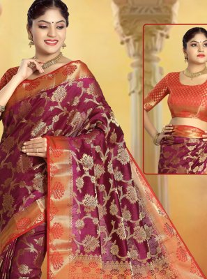 Silk Weaving Purple Trendy Saree