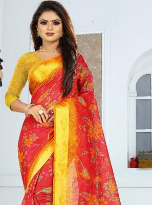 Silk Weaving Red and Yellow Saree