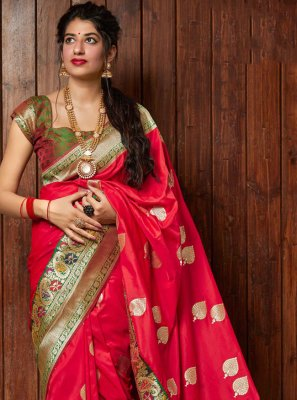 Silk Weaving Red Bollywood Saree