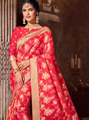 Silk Weaving Red Classic Saree