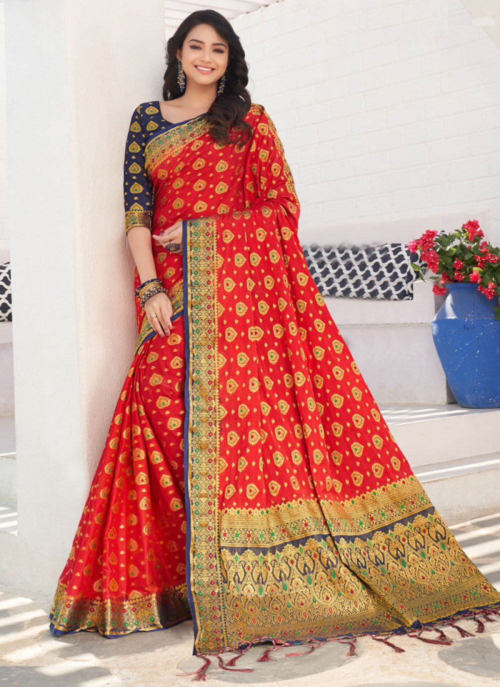 Silk Weaving Red Traditional Saree