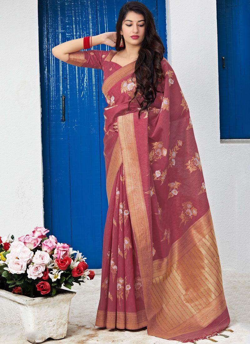 Silk Weaving Rust Traditional Saree