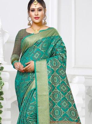 Silk Weaving Sea Green Designer Saree