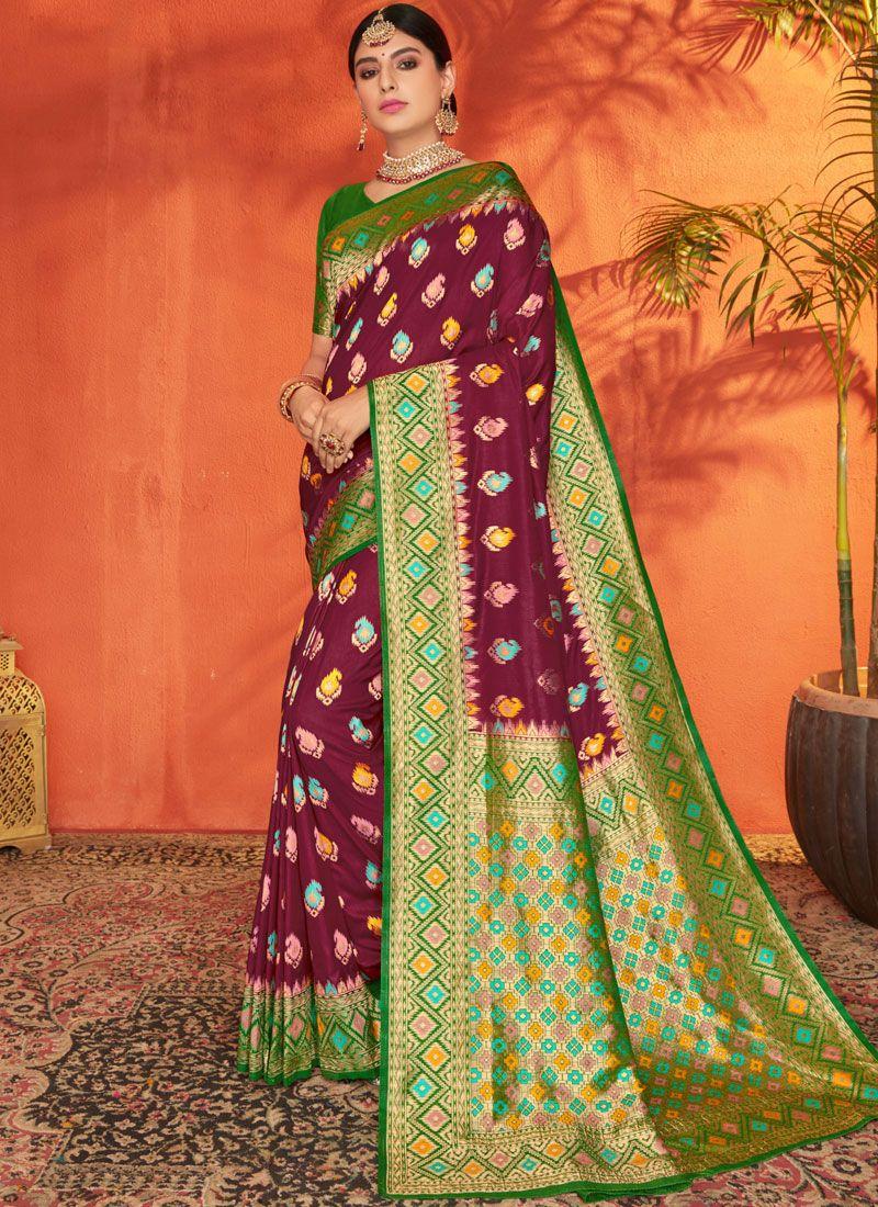 Silk Weaving Silk Saree in Green and Maroon