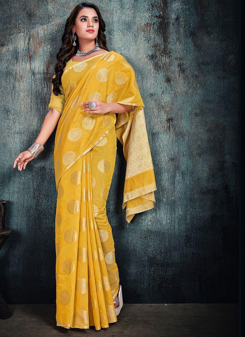 Silk Weaving Silk Saree in Yellow