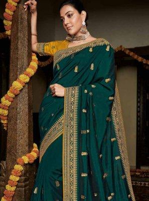 Silk Weaving Teal Classic Saree
