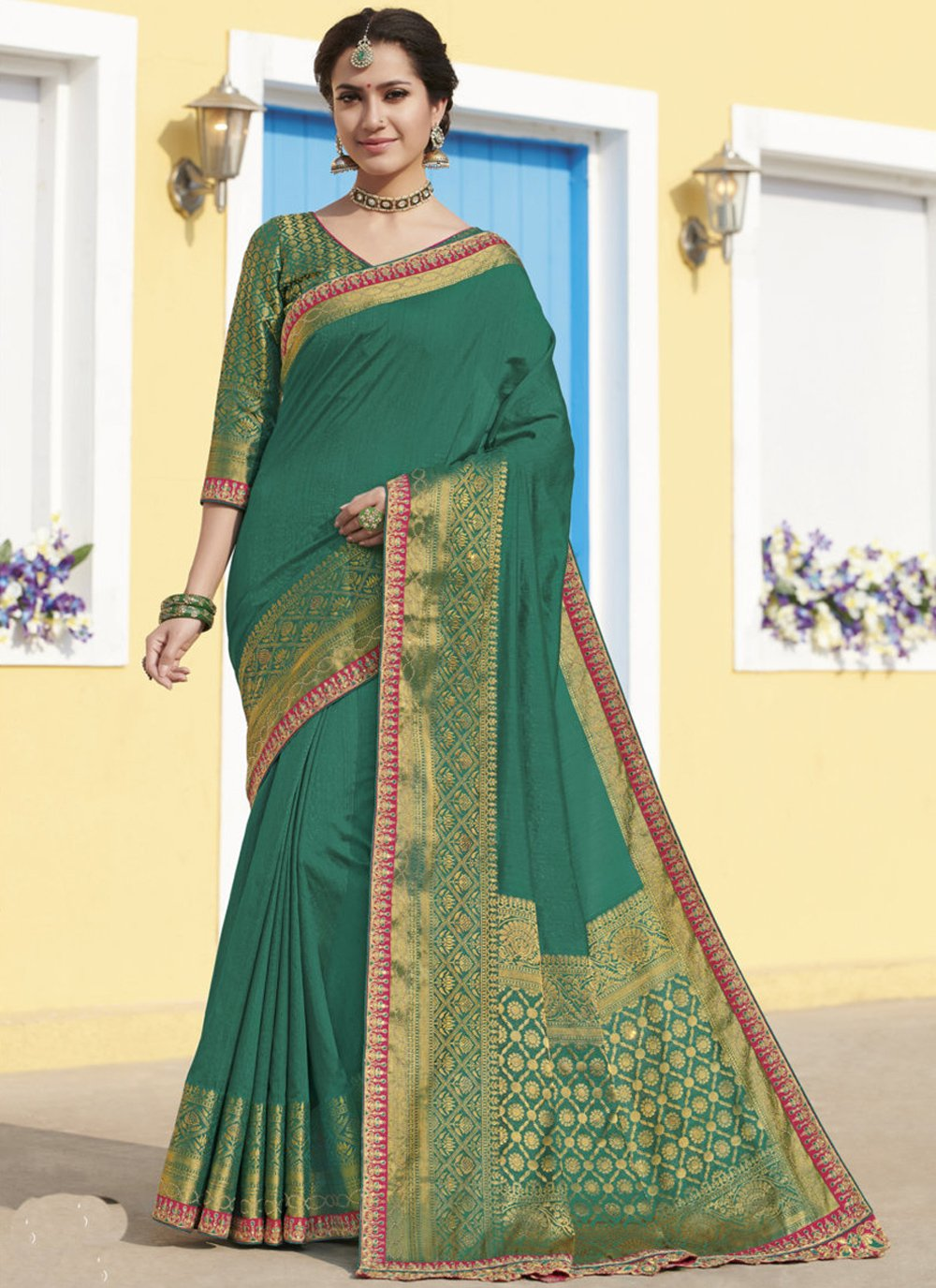 Silk Weaving Traditional Saree in Green