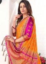 Silk Weaving Traditional Saree in Orange