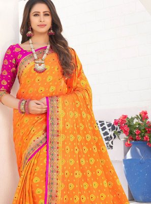 Silk Weaving Traditional Saree in Orange