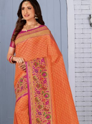 Silk Weaving Trendy Saree in Orange
