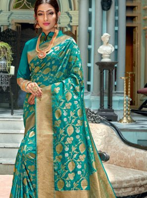 Silk Weaving Turquoise Silk Saree