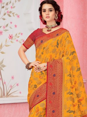 Silk Weaving Yellow Classic Saree