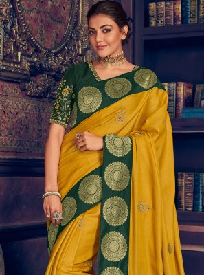 Silk Weaving Yellow Designer Saree