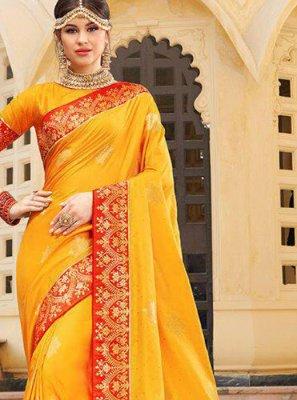Silk Weaving Yellow Trendy Saree