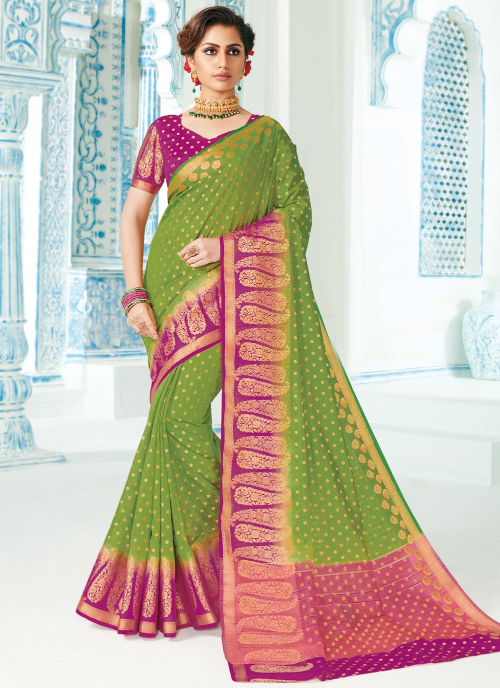 Silk Woven Traditional Saree in Green