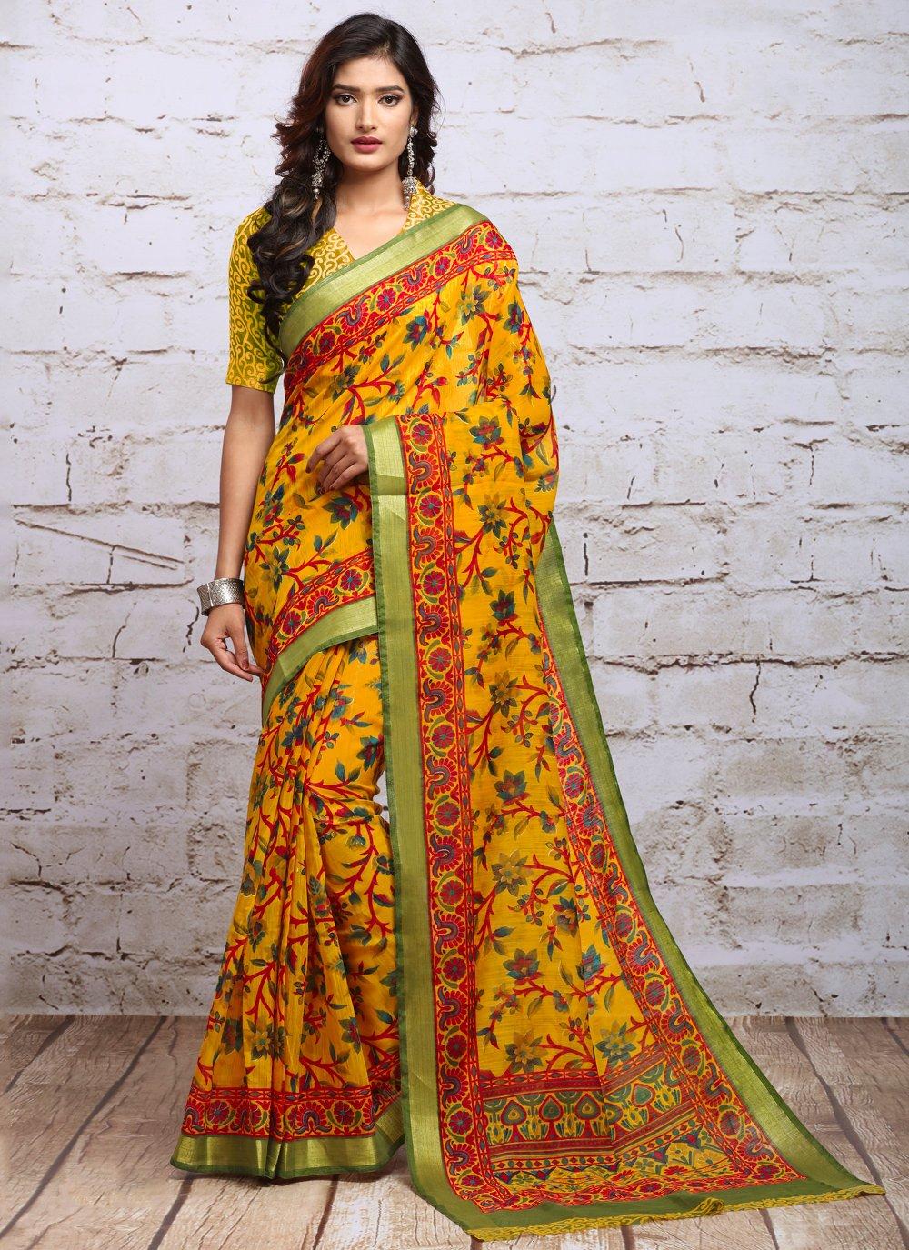 Silk Yellow Casual Saree