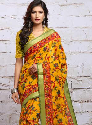 Silk Yellow Casual Saree