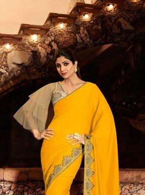 Silk Yellow Classic Designer Saree