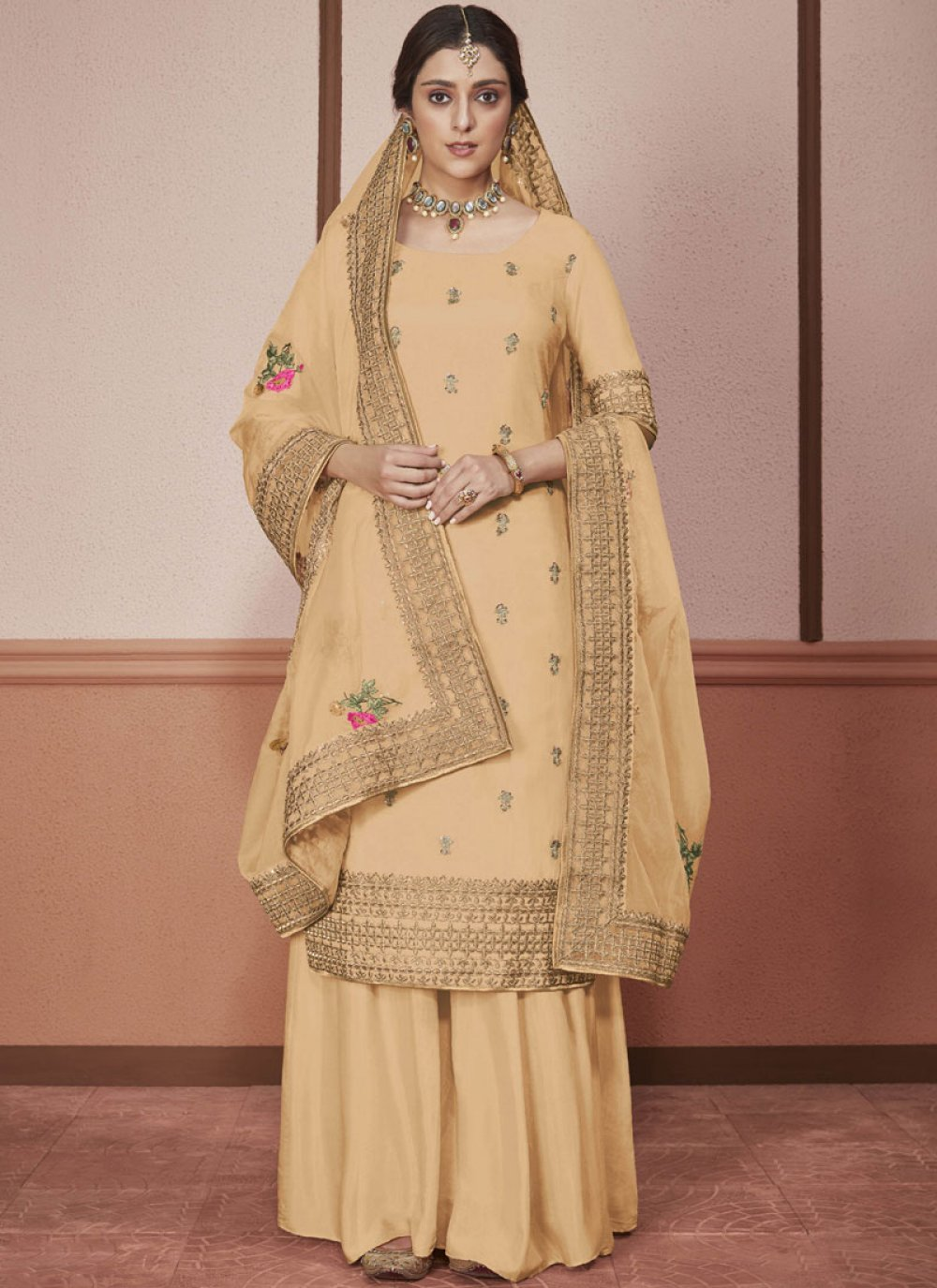 Silk Yellow Embroidered Churidar Salwar Suit
