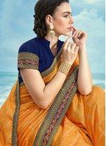 Silk Yellow Embroidered Contemporary Saree