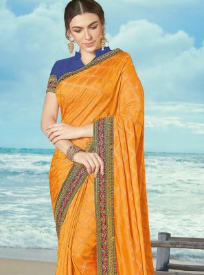 Silk Yellow Embroidered Contemporary Saree