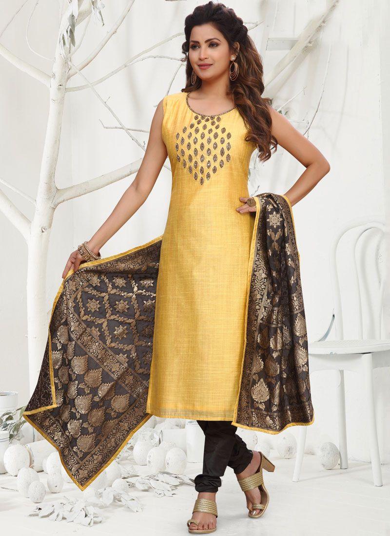 Silk Yellow Embroidered Readymade Churidar Salwar Kameez